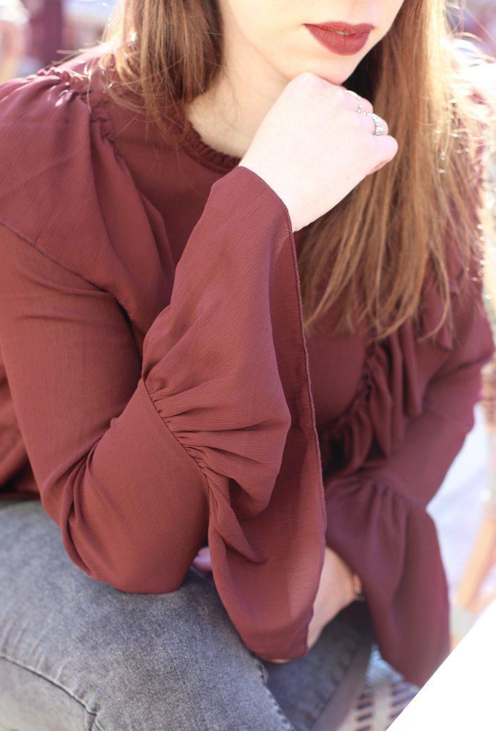blouse vollants bordeaux