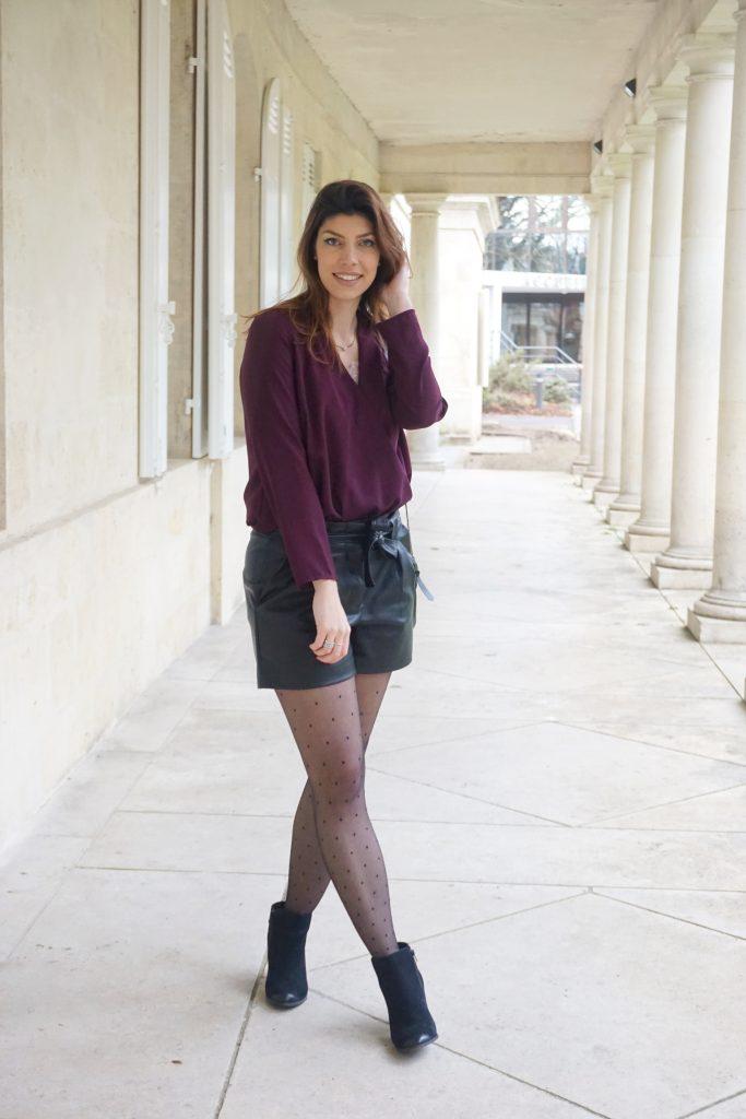 look bordeaux et noir_short en cuir