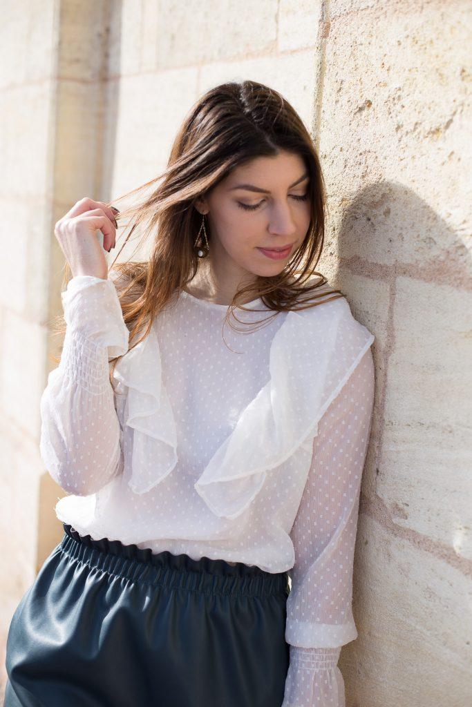 chemisier plumetis blanc glamour