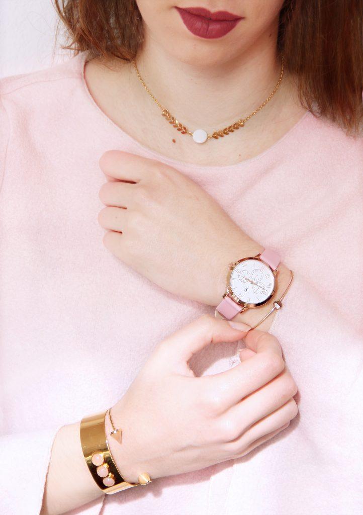 montre rose pastel