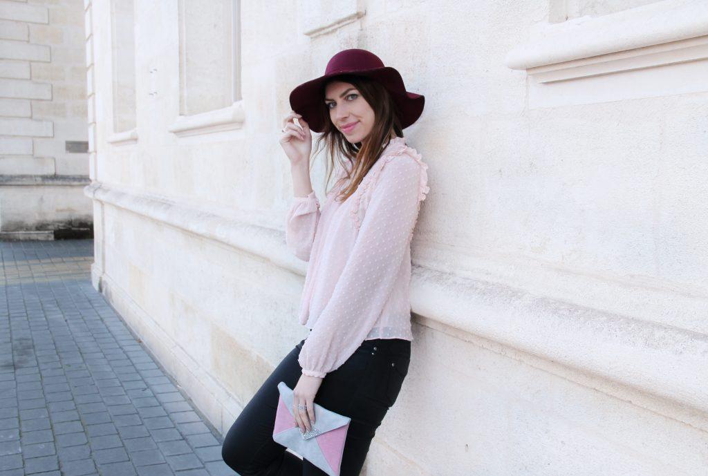 look mode rose poudré bordeaux