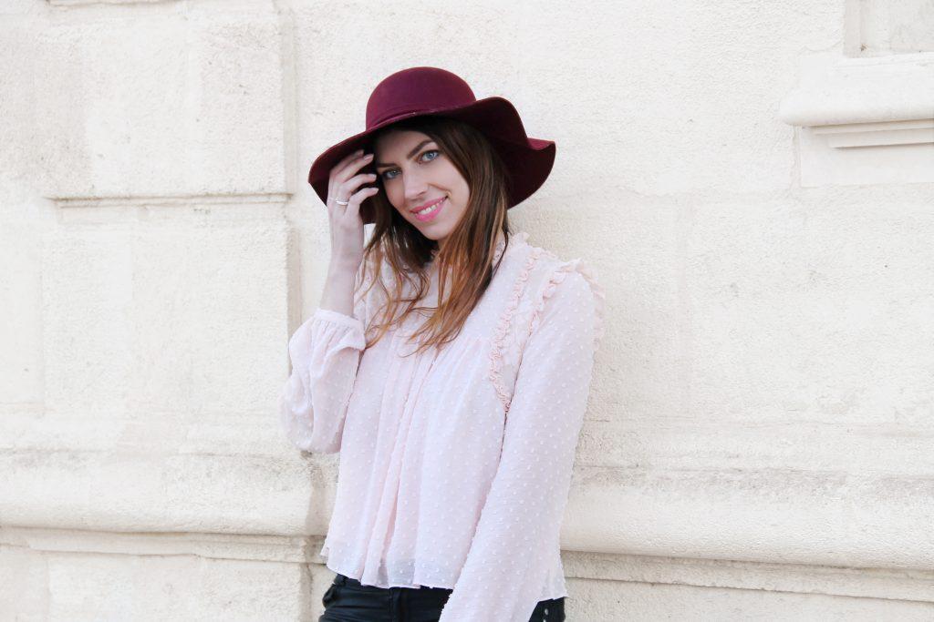 look blouse rose poudré plumetis