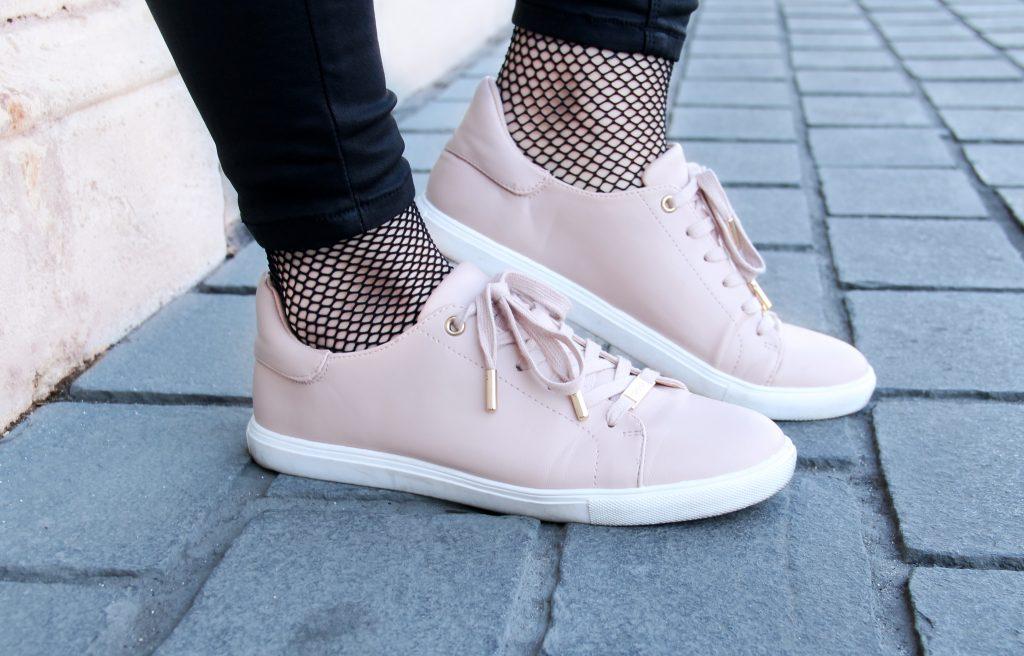 chaussettes résille basket rose poudré