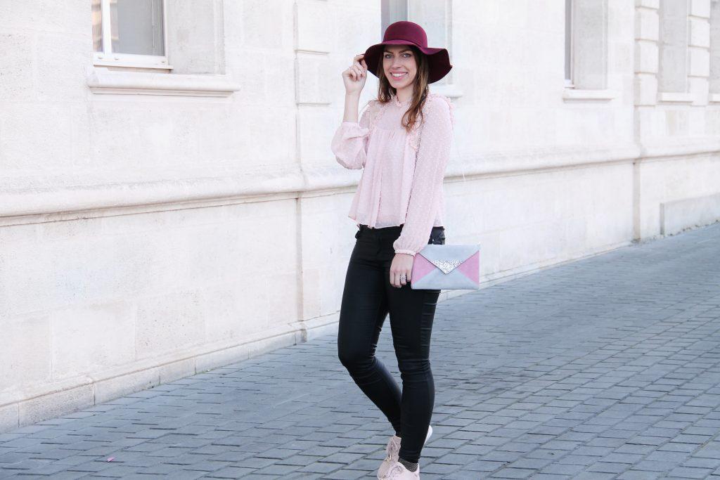 look mode rose poudré et noir