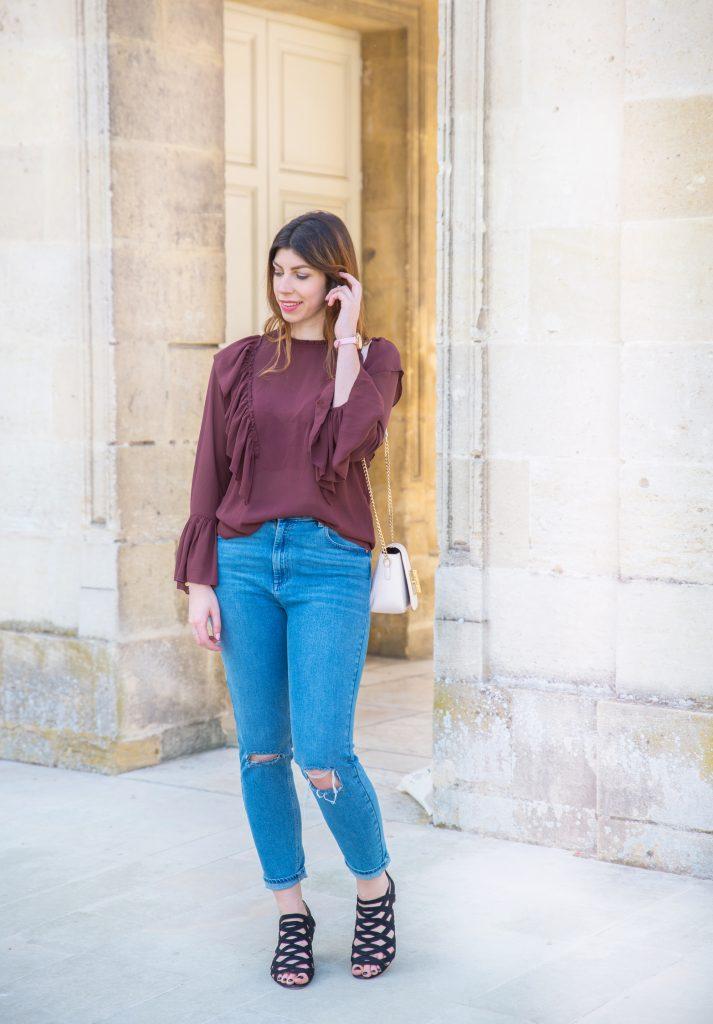 blouse volants jean mom chic