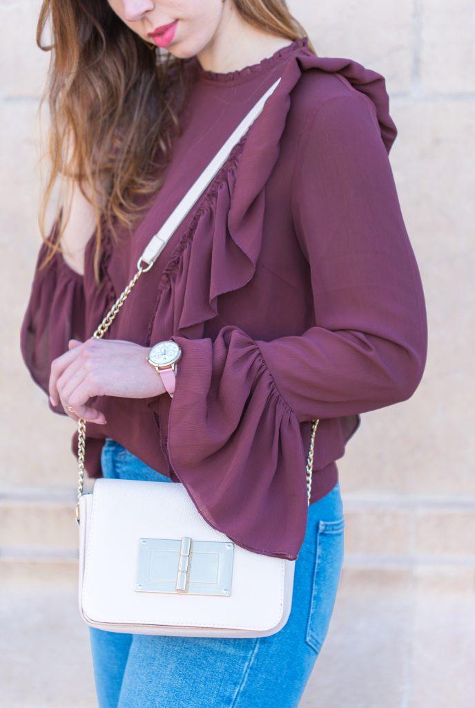 blouse volants vero moda bordeaux