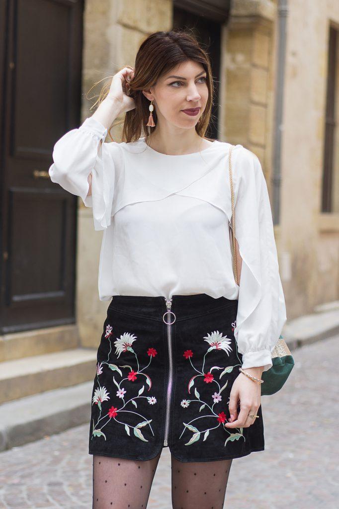 blouse vollant jupe florale