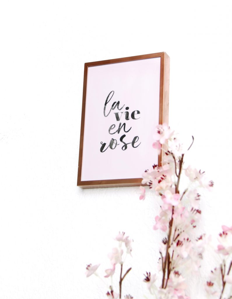 carte decoration fille, la vie en rose