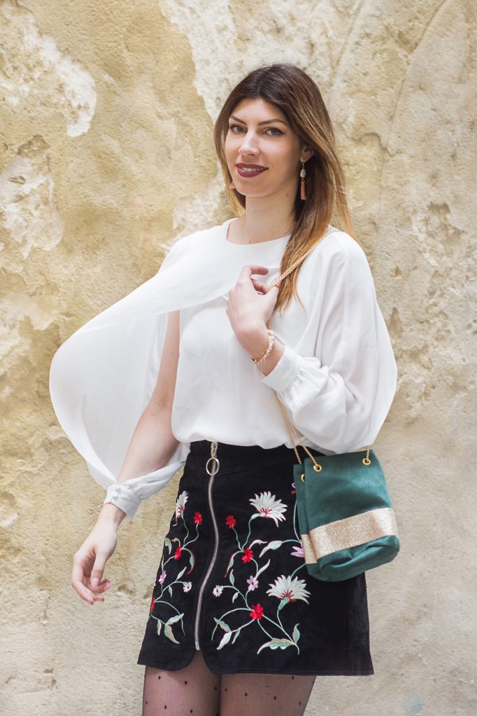 jupe brodée floral