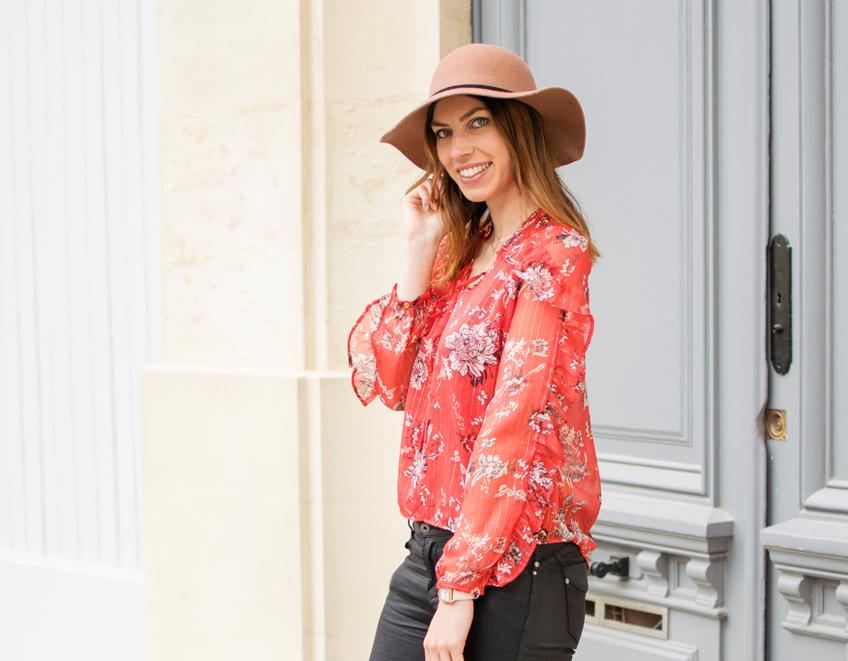 look mode femme blouse imprime fleuri