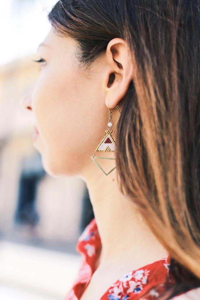 boucle doreilles tissage perles