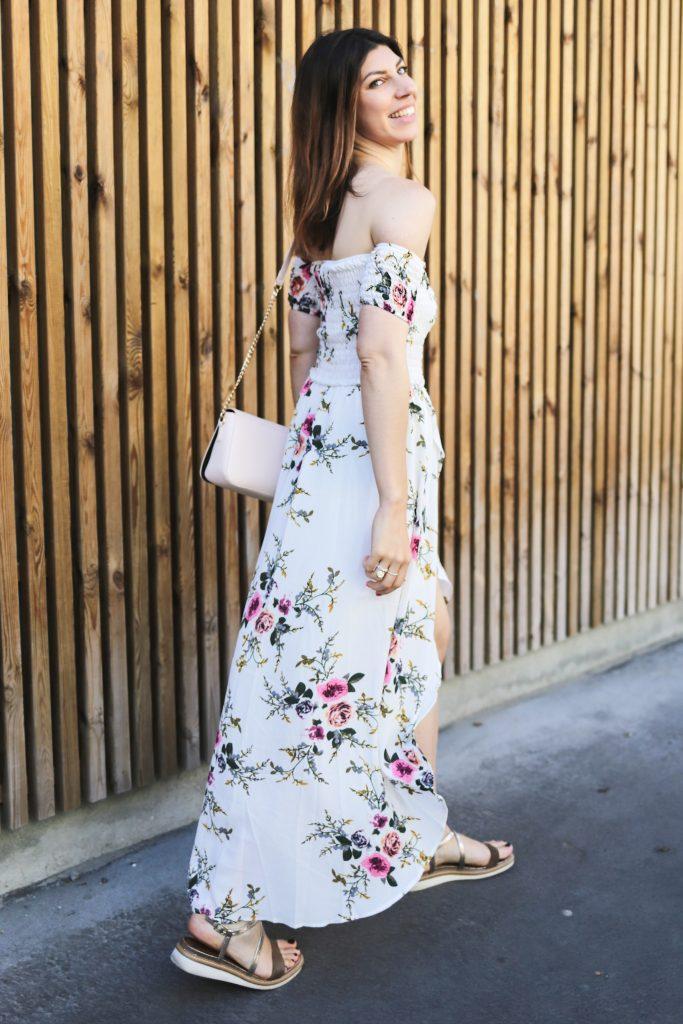 comment porter une robe longue imprime fleuri