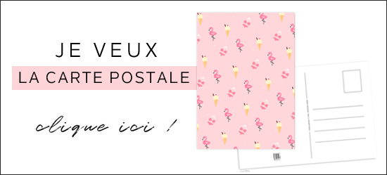 carte postale flamant rose glace summer