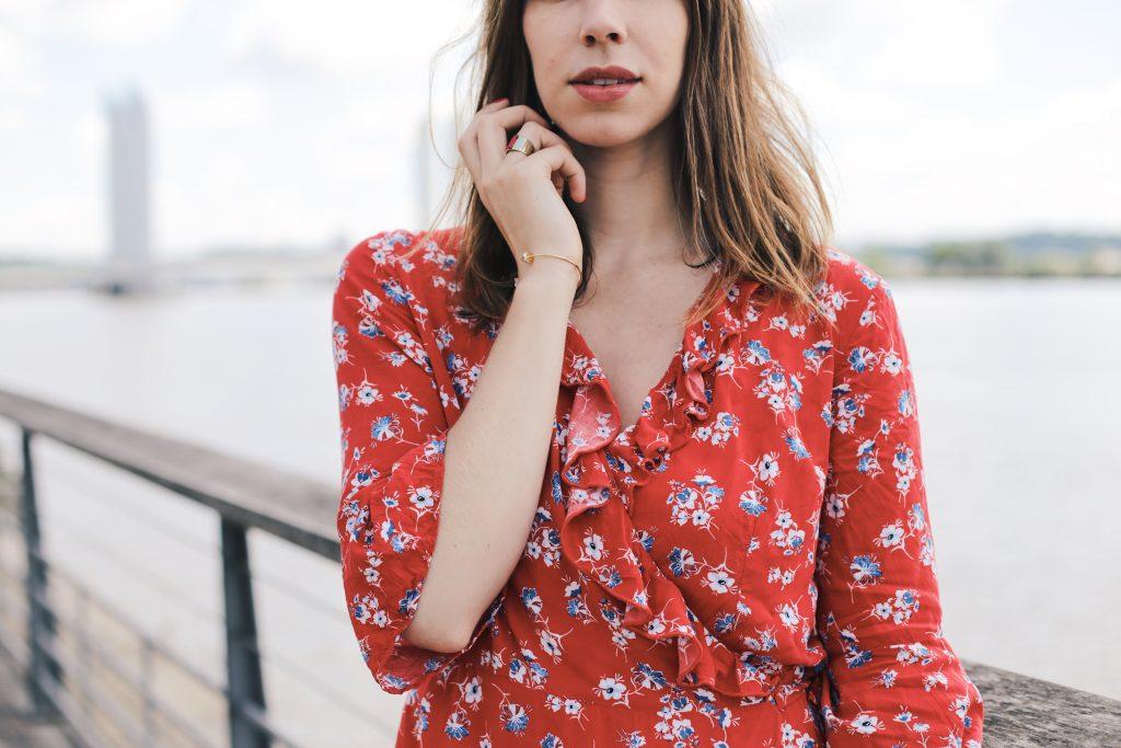 robe a volants imprime fleuri femme