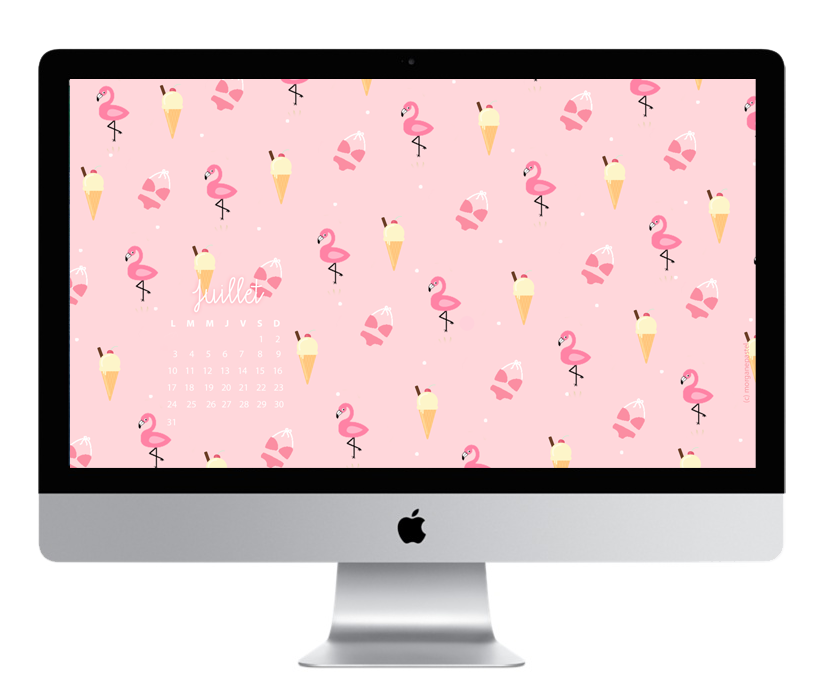 wallpaper calendrier flamant rose - glace - summer