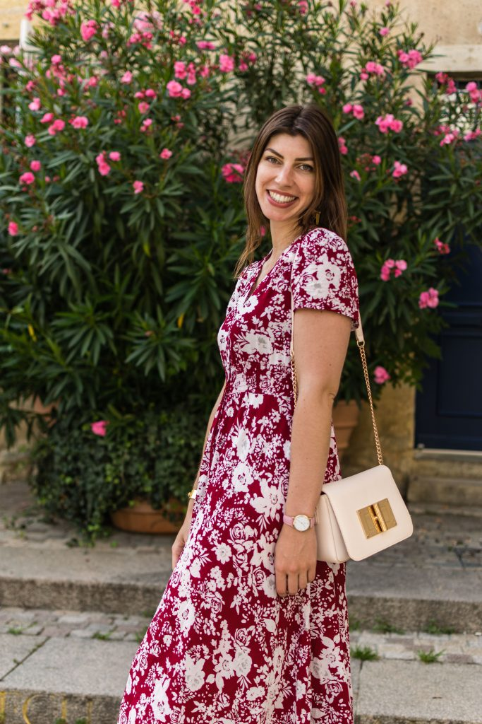 longue robe rouge floral