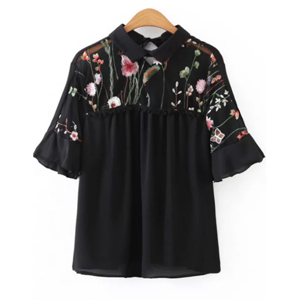 blouse noir broderie