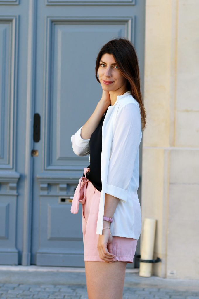look casual short taille haute rose boohoo