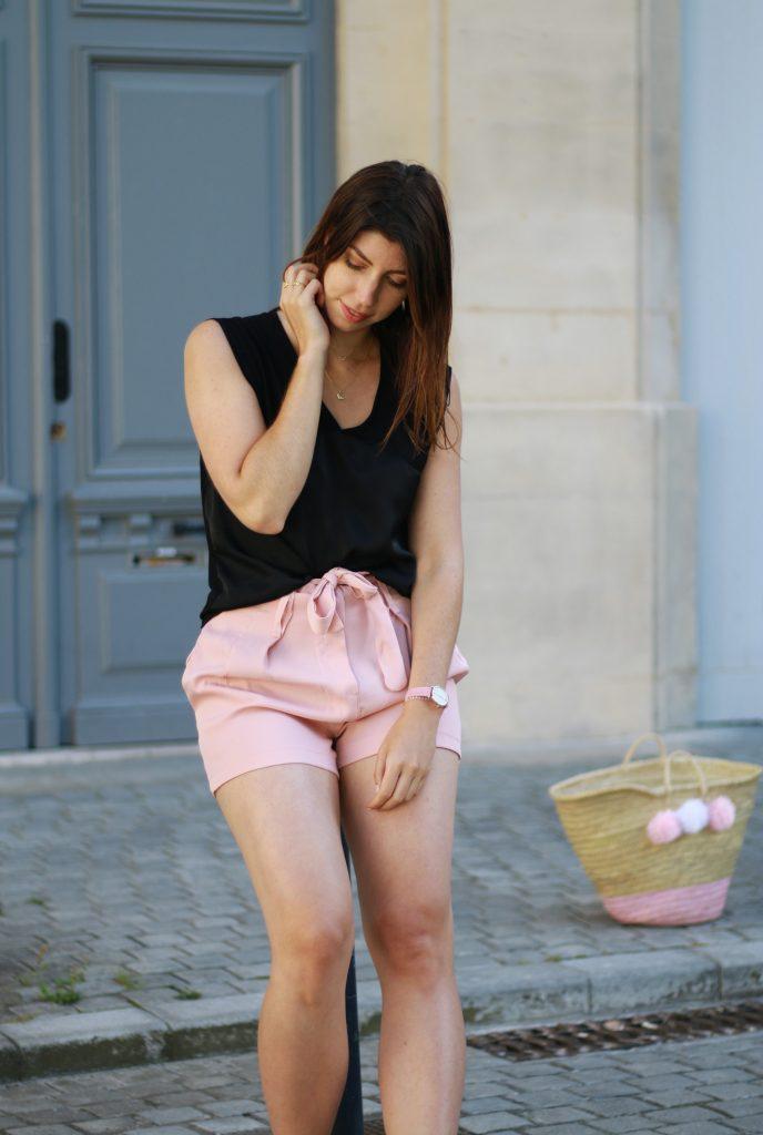 look ete short taille haute rose