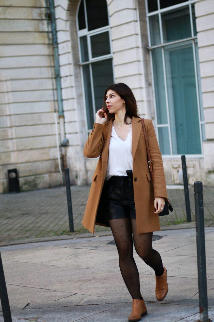 look mode manteau camel short cuir