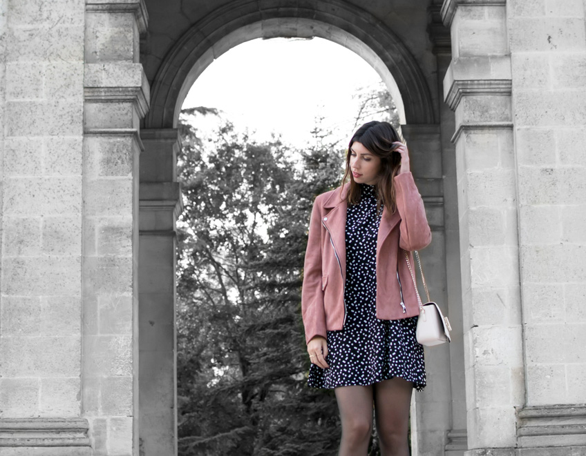 look robe a pois et perfecto daim rose