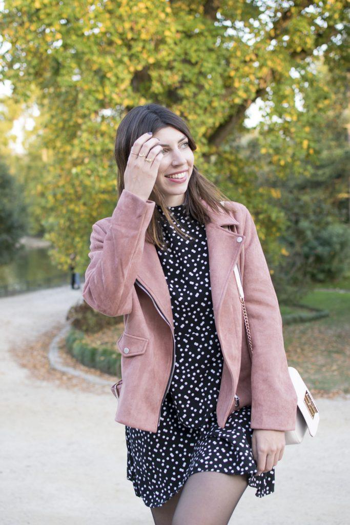 perfecto rose suedine robe a pois