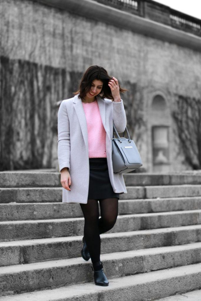look hiver manteau doudou gris
