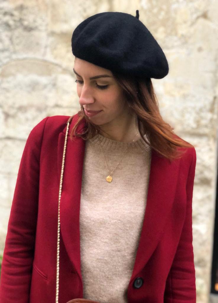 outfit beret noir femme