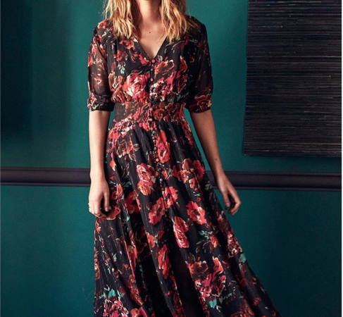 robe longue motif fleurie