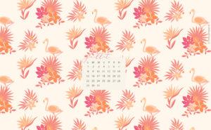 fond ecran ete 2019 flamant rose