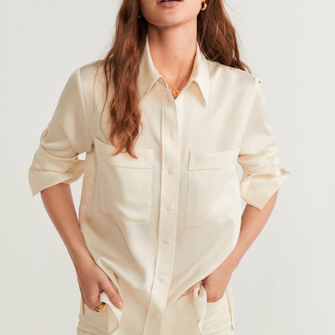 chemise soie mango beige