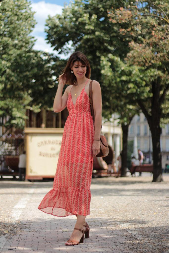 robe longue rouge volant