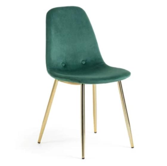 chaise velours vert
