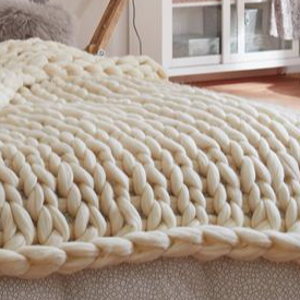 plaid grosse maille tricot ecrue
