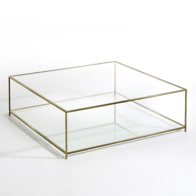table basse carre verre trempe